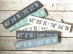 "This sign is a great gift or for your home on a gallery wall. It measures appx. 4""x18"" and displays the coordinates of your choice. You could choose any location- your home coordinates, your birthplace, your favorite city, the place your child was born, where you got married........the possibilities are endless! It is painted and distressed and comes ready to hang with a sawtooth hanger on the back. It is sealed with a clear protective coating. I wil..."