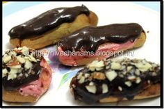 Eclairs - from the name of the recipe when I heard from Swathi for this month's Baking partners challenge, I thought we were going to do a. Baking Tips, Baking Recipes, Chocolate Eclair Recipe, Eclair Cake Recipes, Eggless Baking, Egg Free Recipes, Choux Pastry, Pastry Recipes, Eclairs