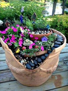 Flower pot fairy garden ideas large pots broken into gardens creative use of containers i