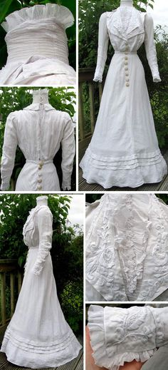 Day dress, probably British, ca. 1906-08. Heavy cream-colored linen blend with embroidery, lace, and linen-covered wooden button trim. White net insert with small flowers at neck. Wide skirt, slightly longer in back. Lined bodice. Hook & eye closure in back. madaboutfans on ebay