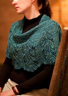 """Raverly free pattern, sport weight yarn. Finished shawlette is 15"""" deep by 54"""" around. Cute."""