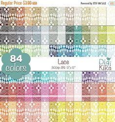 70% OFF SALE Lace Digital Papers  Rainbow Lace Papers  par DigiKika