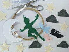 Colored Peter Pan Felt Mobile Kit- DIY Baby Mobile - Second Star to the Right Decor - Neverland Crib Mobile - Night Sky Infant Mobile