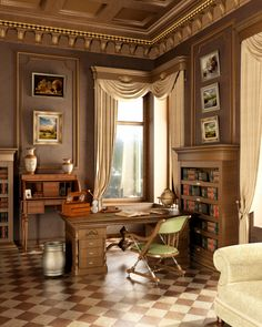 luxurious home office with tile floor crown molding on the ceiling and antique office furniture antique home office furniture