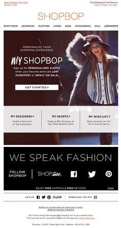 ShopBop  | welcome | WelcomeEmails | emailmarketing | email | newsletter | welcome newsletter | welcome email | WelcomeEmail | relationship emails | emailDesign