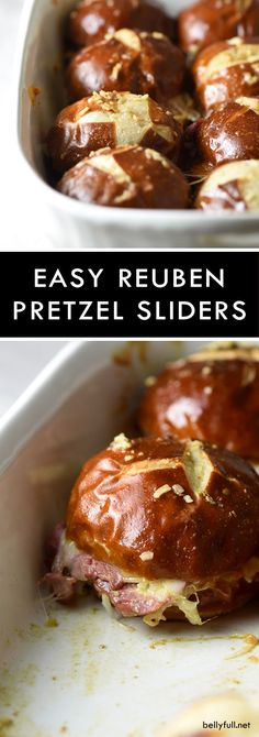 Reuben Pretzel Sliders combine all the classic Reuben goodies onto small pretzel rolls, with a killer sauce that coats the buns as they bake. Great crowd pleaser for parties or an easy weeknight dinner!