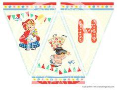 Digital PRINTABLE Vintage Little Red Riding Hood Girl Bird Grandma Birthday Tea Party Children Banner Flag Burlap Sheet Images Sh267
