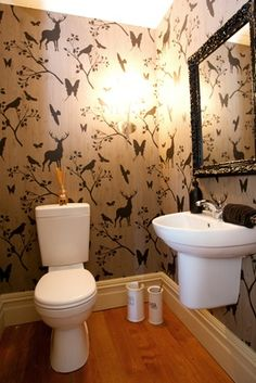 I've had a slight obessesion with crazy and bold wallpaper in bathrooms ever since i walked into some loos in a Tauranga pub and they had RED walls with butterflies and bugs. Love! So strong, and so unexpected,