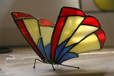 Stained Glass Butterfly, Free Standing Ornament, Handmade in Poland, EU.