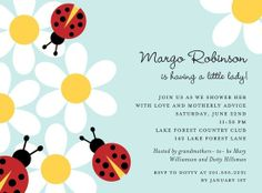 Ladybug and daisy flower baby shower invitations.