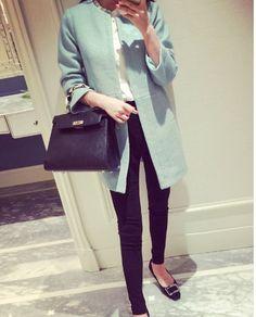 コート - 韓流スタイル秋物新作 大きめサイズにも対応できる長袖ロング丈ラシャコート