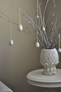 Easter decor  (loved the egg tree, very easy too, pins, thread and those styrofoam eggs)
