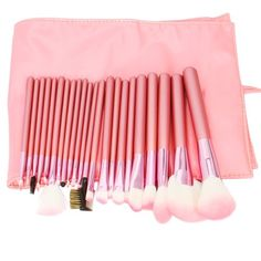 22pcs Professional Cosmetic Makeup Brush Set with Pink Bag Pink: Features:  1. The makeup brush set is easy to carry and use   2. With superior-quality, the makeup brushes in the set will not irritate your skin  3. Durable unique packaging can well protect your makeup brushes  4. It is an important beauty essential for you  5. Handle made of plastic and aluminum  6. It is suitable for each wise customer  7. This cosmetic brush is individually handmade