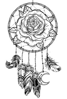 coloring pages - Dream catcher with rose flower, detailed vector illustration isolated on white Blackwork tattoo flash, mystic symbol New school dotwork Boho design Print, posters, tshirts and textiles Detailed Coloring Pages, Love Coloring Pages, Printable Adult Coloring Pages, Mandala Coloring Pages, Coloring Books, Dream Catcher Coloring Pages, Dream Catcher Drawing, Dream Catcher Tattoo Design, Drawings Of Dream Catchers