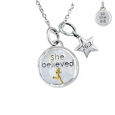 Gone For a Run Livia Collection Sterling Silver and 14K Gold Vermeil She Believed 262 Token Necklace *** Check this awesome product by going to the link at the image.