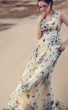 baf04421a60 Maxi Butterfly Print Long Chiffon Bohemian Dress