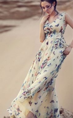 Maxi Butterfly Print Long Chiffon Bohemian Dress