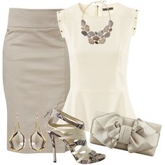 """Beige Pencil skirt and top"""