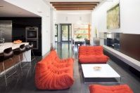 Stunning Orange Sofa with Contemporary Furniture Set for Interior: Creative Contemporary Living Room Design Interior Used Orange Sofa With T. Cool House Designs, Modern House Design, Style Deco, Apartment Furniture, Modern Room, Contemporary Interior, Home Builders, Great Rooms, Vancouver