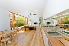 Benchtops and Tables Timber Benchtop, Timber Flooring, Kitchen Benches, House Extensions, Building Materials, Cladding, Contemporary Design, Ideal Home, Hardwood