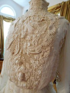 Beautiful lace on this Extraordinary Embroidered Antique Blouse