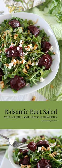 Balsamic Beet Salad with Arugula, Goat Cheese, and Walnuts...perfect for lunch or a light dinner. Vegetarian, gluten free, and can easily become vegan by simply omitting the goat cheese.