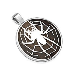 SPIKES 316L Stainless Steel Pendant. Spider w/Web