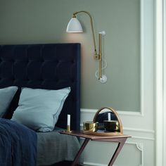 """Gubi - Bestlite Wall Lamp - """"Designed by the British designer Robert Dudley Best in the Bestlite Wall Lamp exudes simplicity and clean shapes in line with the school from Bauhaus, which Home Bedroom, Modern Bedroom, Bedroom Decor, Bedroom Lighting, Bedrooms, Interior Bohemio, Headboard Designs, Headboard Ideas, Diy Headboards"""