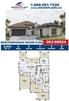 Get to know one of our stunning Mediterranean designs! Plan 963-00624 offers 3,433 sq. ft., 3 bedrooms, 3.5 bathrooms, the courtyard entry feature, a mud room, a covered porch, and an open floor plan. Get more details about this design on our website. Mediterranean House Plans, Mediterranean Design, Courtyard Entry, Floor Plan Drawing, Stucco Exterior, Cost To Build, Construction Drawings, Bungalow House Design, Best House Plans