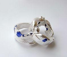 freeform ring in silver with blue enamel by Kelvin J. Birk