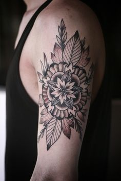 flower mandala & leaves #arm #shoulder  #tattoos