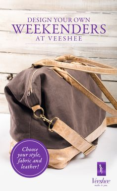 Design your own weekenders, totes, cosmetic bags and more at Veeshee. Choose from a variety of fabrics and distressed leather to create your own bags. Each bag is made on demand in our Athens, GA warehouse. Enjoy 10% off with code PINTEREST10. #veeshee