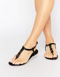 Image 1 ofNew Look Woven Hoop Flat Sandals