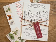 Wedding Invitation Ideas: Letterpress Rustic Hand Lettered Wedding Invitations with Burgundy Details by Bright Room Studio via Oh So Beautiful Paper