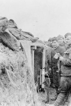 1st Cameronians. Cleaning the machine gun after morning stand to. Houplines Sector, 19th December, 1914.