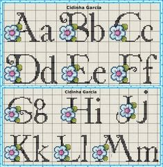 This Pin was discovered by Hat Cross Stitch Alphabet Patterns, Cross Stitch Letters, Stitch Patterns, Alphabet Charts, Cross Stitching, Cross Stitch Embroidery, Handmade Crafts, Diy And Crafts, Simple Cross Stitch