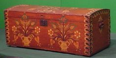 PENNSYLVANIA DUTCH (GERMAN) PAINTED BLANKET BOX, 18/19TH CENTURY. HEIGHT 17 1/2; LENGTH 42; DEPTH 19 1/2