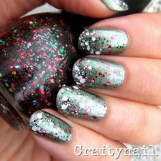 Metallic green nails topped with red and green glitter, and a white glitter gradient on the tips.