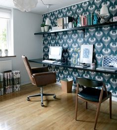 Desk, wallpaper on one wall