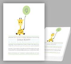 Baby Shower Invitation Giraffe 5 x 7 Boy or Girl by Teiesi on Etsy