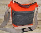 The Mack Sack, Camera Bag, Red Orange and Grey Waxed canvas, Water reistant removable messenger strap zipper top and pocket, by Darby Mack
