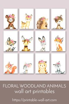 Simply gorgeous woodland animals wearing flower crowns. Perfect wall art for a girl's nursery or bedroom. Available as instant download printables or printed & shipped. #printables #woodlandanimal #animalprints #animaldecor #flowercrownanimals #girlsroomdecor #woodlandnursery #nurserydecor Nursery Wall Art, Girl Nursery, Nursery Decor, Nursery Ideas, Room Ideas, Bedroom Decor, Decor Ideas, Floral Nursery, Floral Wall Art