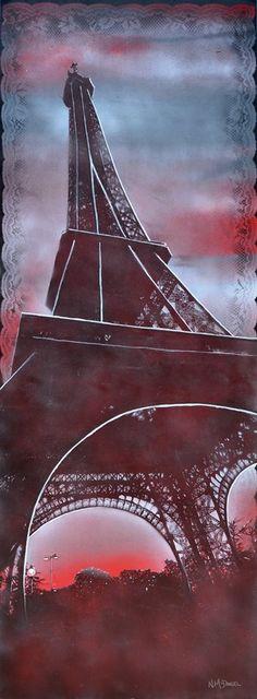 """""""Evening in France"""" - Eiffel Tower Nichole McDaniel art - Village Gallery, Laguna Beach, CA"""