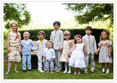 It is a cute idea to have a photo taken at your wedding of all the children who are there. So sweet. Photo by Flory Photo.