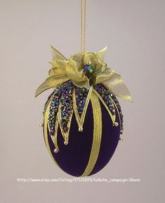 """Items similar to Towers & Turrets- """"Avalanche"""" -Blue Velvet Egg with Czech Glass Beads Handmade Christmas Ornament Vintage Style Victorian Inspired on Etsy Quilted Christmas Ornaments, Fabric Ornaments, Beaded Ornaments, Christmas Baubles, Handmade Christmas, Christmas Crafts, Egg Crafts, Easter Crafts, Easter Ideas"""