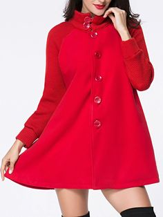 Band Collar Single Breasted Plain Patchwork Woolen Coat Only $29.95 USD More info...