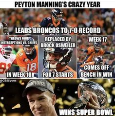 It was a wild ride for Peyton Manning and the Denver Broncos this season. Go Broncos, Denver Broncos, Peyton Manning, Nfl, The Unit, Football, Baseball Cards, Sports, American Football