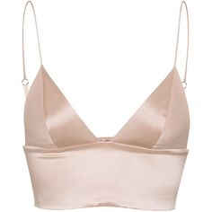 T BY ALEXANDER WANG Triangle Nude Silk bralette (37.190 HUF) ❤ liked on Polyvore featuring tops, shirts, crop tops, lingerie, silk top, spaghetti strap shirt, sexy shirts, silk crop top and banded bottom shirts