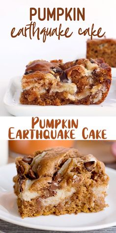 This easy Pumpkin Earthquake Cake is perfect for fall! It's made with spice cake mix that's been doctored up with canned pumpkin, and pumpkin spice. Pumpkin Coffee Cakes, Pumpkin Spice Cake, Pumpkin Pumpkin, Pumpkin Crumble Cake, Spice Cake With Pumpkin, Easy Pumpkin Cake, Easy Pumpkin Desserts, Cake Mix Coffee Cake, Pumpkin Deserts