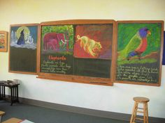 Use colorful chalkboard (or dry erase board) drawings for illustrated note taking. Blackboard Drawing, Chalkboard Drawings, Chalk Drawings, Chalkboard Art, Animal Drawings, Chalkboard Pictures, Waldorf Curriculum, Form Drawing, Inspired Learning